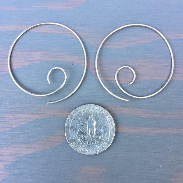 Hoop Spirals - Lightweight Spiral Thread Earrings Threader Hoop - Sterling Silver 925