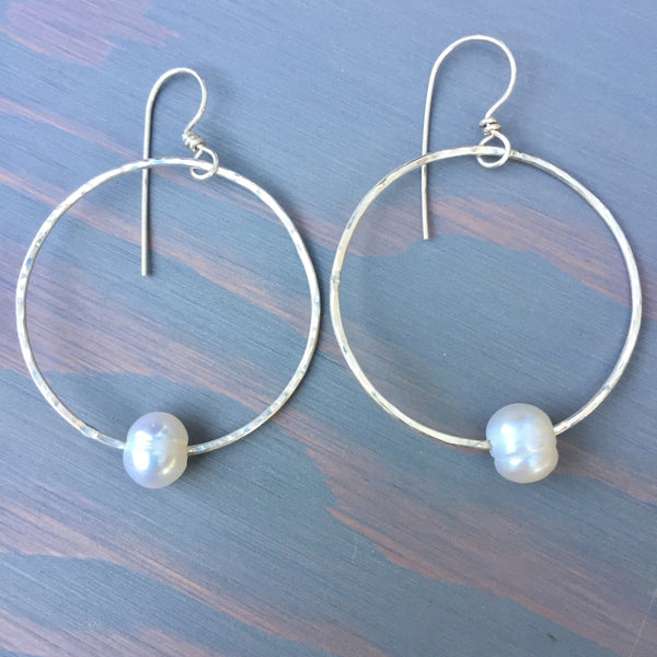 Captive White Pearl Hammered Heart Hoops - Sterling Silver 925
