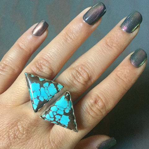Turquoise Triangle Duo Ring - Sterling Silver 925 #8 Mine Arrow Triangles Jewelry - Size 5.5 - 6.5