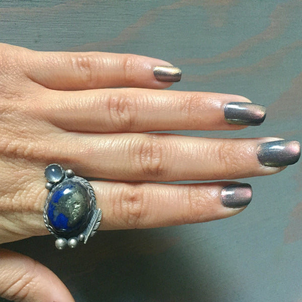 Lapis Lazuli Pyrite Moonstone Feather Accent Ring - Sterling Silver 925 - Size 6.5