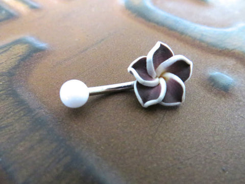 Dark Purple Hawaiian Flower Plumeria Belly Button Ring Jewelry Barbell Piercing