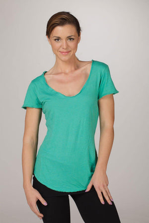 Load image into Gallery viewer, Organic Short Sleeve Scoop-Neck Tee - Emerald Green - MAX & ME SPORT