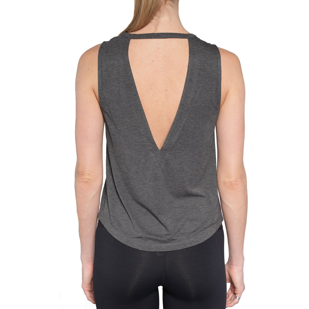 Open Back Abandon Tank - Heathered Black - by Chill by Will - MAX & ME SPORT - Tank top