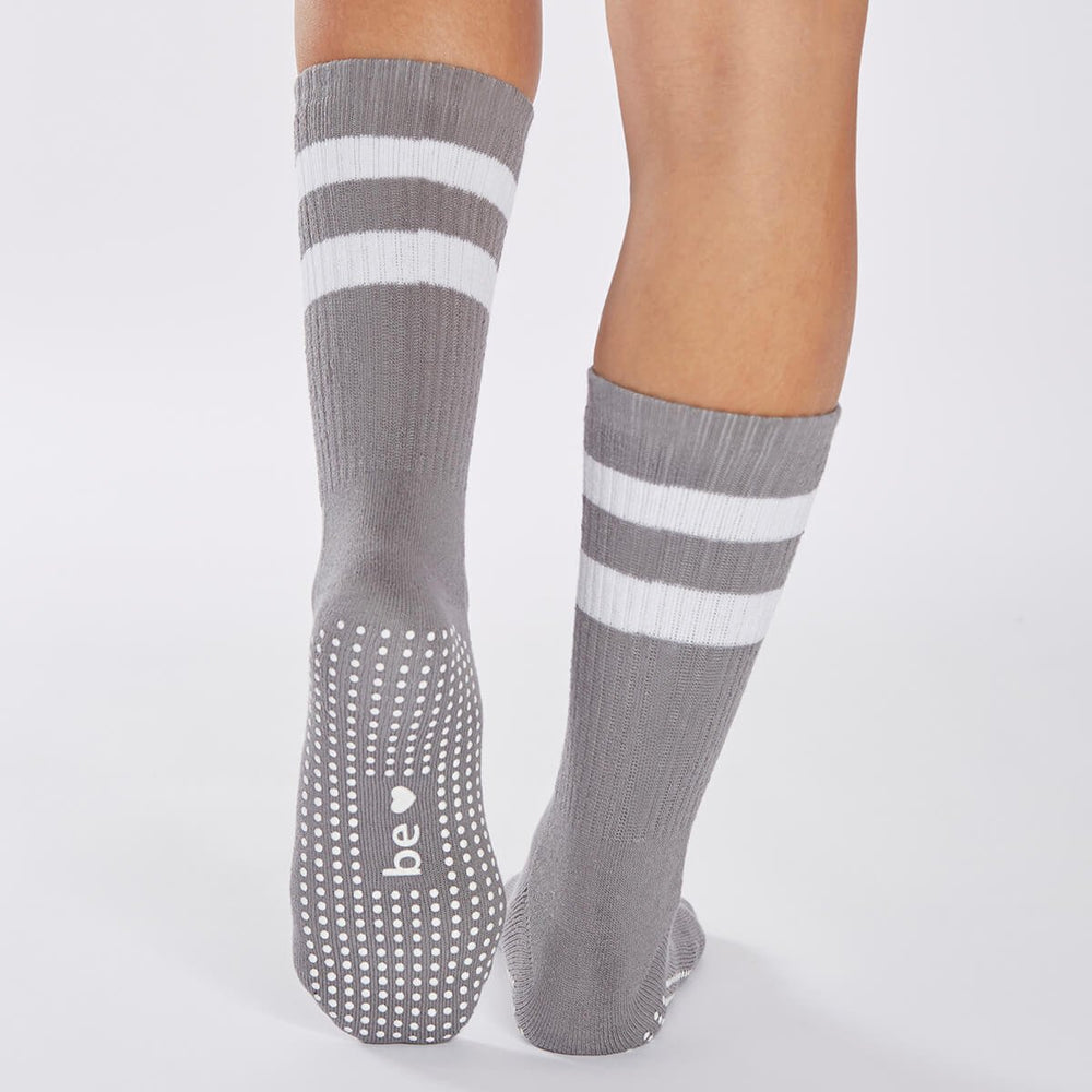Load image into Gallery viewer, Crew BE LOVE Grip Socks - Dark Grey/White - Sticky Be Socks Socks