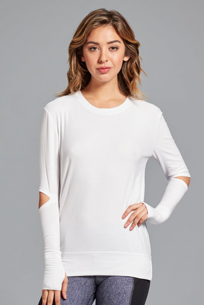 Cassidy Ribbed Top - White - MAX & ME SPORT