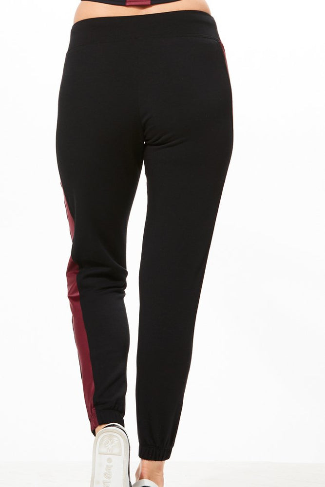 Zoe Track Jogger - Black/Burgundy - CHICHI Active Clearance