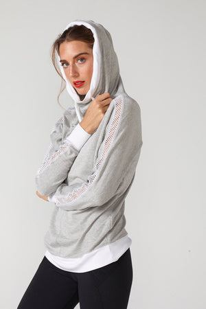 Audrey Hooded Sweatshirt w/Mesh - CHICHI Active Clearance