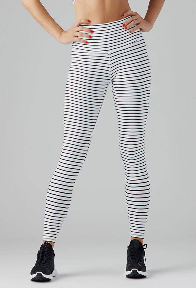 Load image into Gallery viewer, High Power Legging - White/Blk Stripe - MAX & ME SPORT