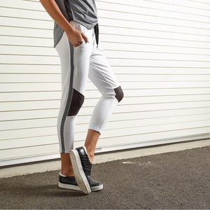 Michelle Cropped Moto Jogger - White/Black - CHICHI Active Clearance