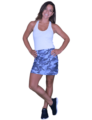 Load image into Gallery viewer, Indigo Camo High Waist Skort - Max and Me Sport - Wear it to Heart
