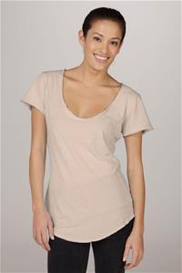 Organic Short Sleeve Scoop-Neck Tee - Tan - MAX & ME SPORT
