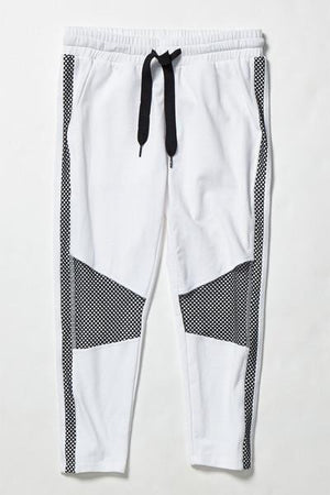 Load image into Gallery viewer, Michelle Cropped Moto Jogger - White/Black - MAX & ME SPORT