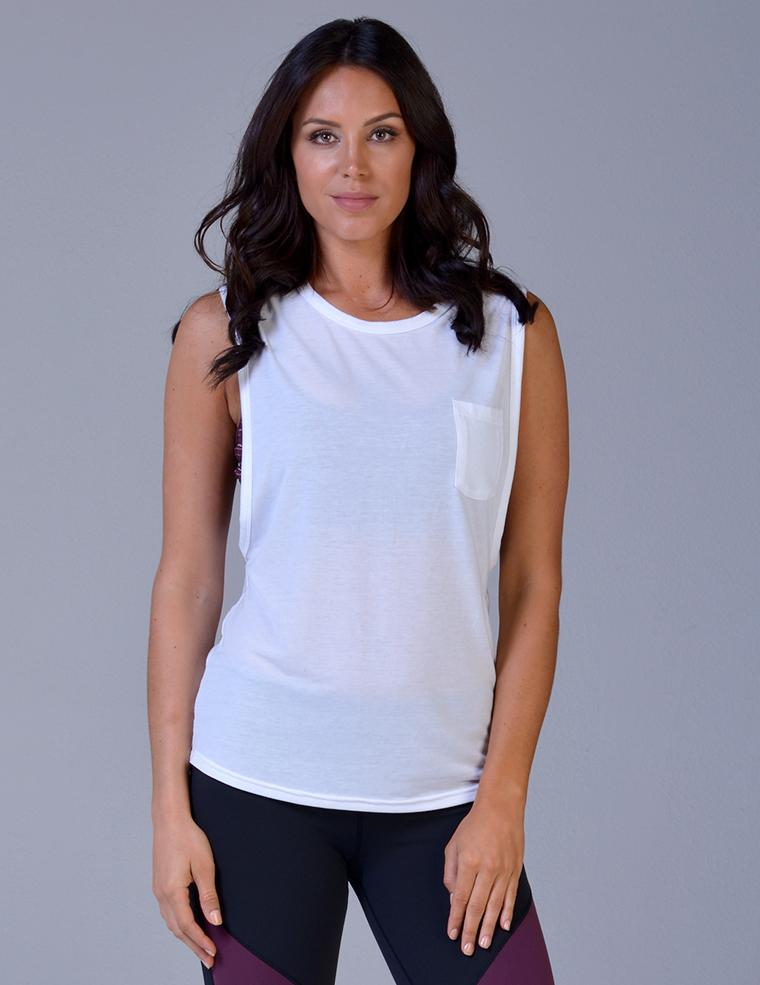 Slash Back Pocket Tank - White