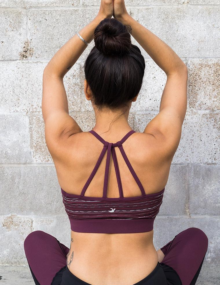 Ignite Bra - Bordeaux Chevron Jacquard - Glyder Clearance