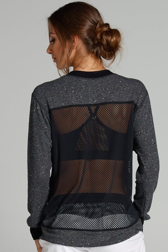 Pia Open Back Sweater - Charcoal/Black - CHICHI Active Clearance