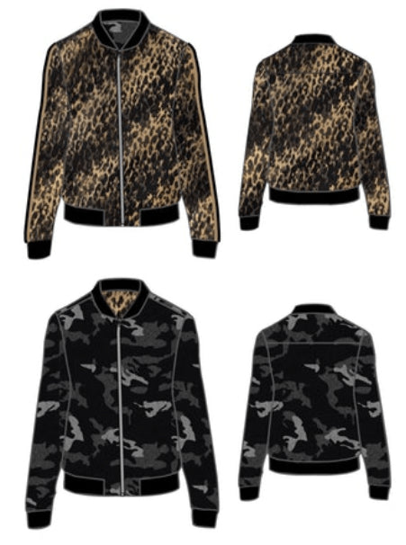 Yellow Cheetah/Black Camo Reversible Bomber Jacket