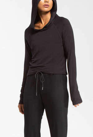 Lucky Hooded Long Sleeve - Black - WITH Sale