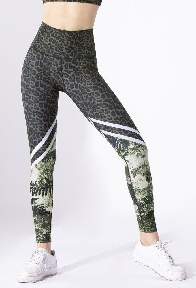 Safari Green Cheetah/Green Fern High Waist Legging - Max and Me Sport - Wear it to Heart