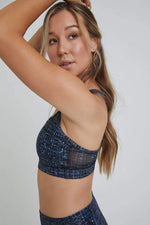 Navy Tweed Foil Strappy Bra - WITH New Arrivals