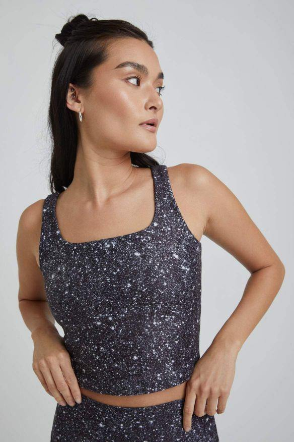 Thalia Cropped Tank - Noir Super Disco Foil - WITH New Arrivals