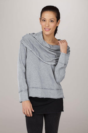 Long Sleeve Cowl Neck Pullover Hoody - MAX & ME SPORT