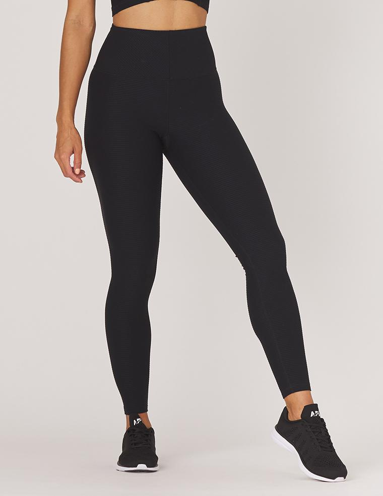 charge legging - black - MAX & ME SPORT - horizontal textured legging - contour legging