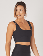 black cutting edge ribbed sports bra - max and me sport - glyder