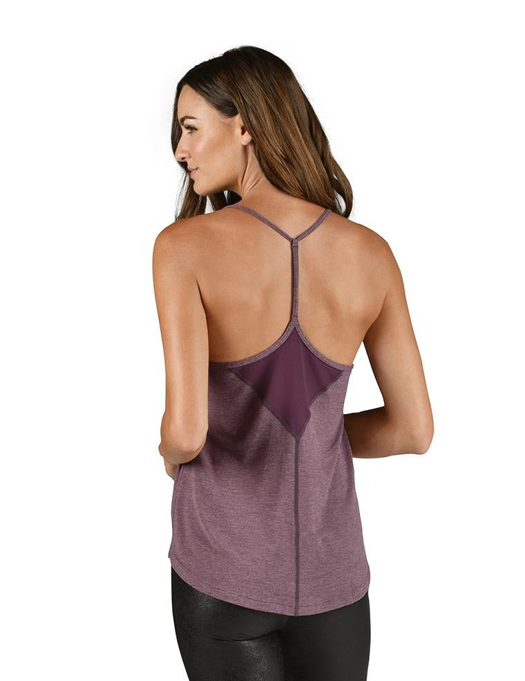 Free Flow Tank - Blackberry Wine Heather - MAX & ME SPORT