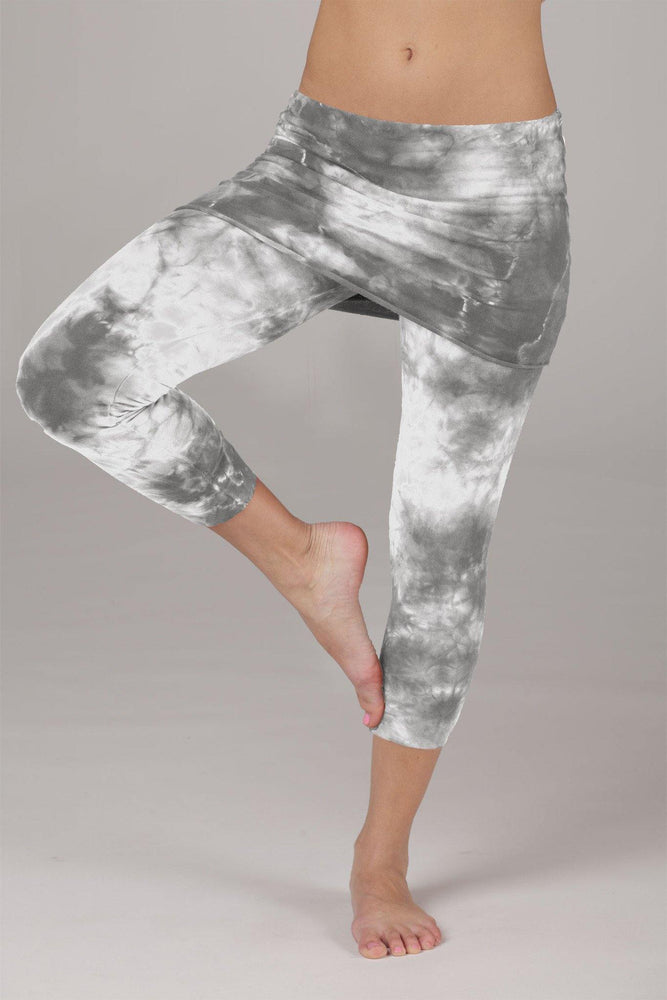 Organic Lightweight Fold Over Capris- Grey Crystal Wash - MAX & ME SPORT