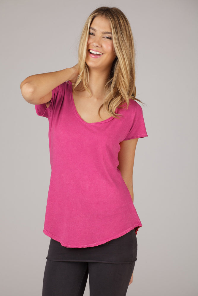 Organic Short Sleeve Scoop-Neck Tee - Hot Pink - MAX & ME SPORT