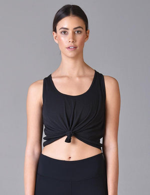 Load image into Gallery viewer, Knot Crop Tank - Black - MAX & ME SPORT