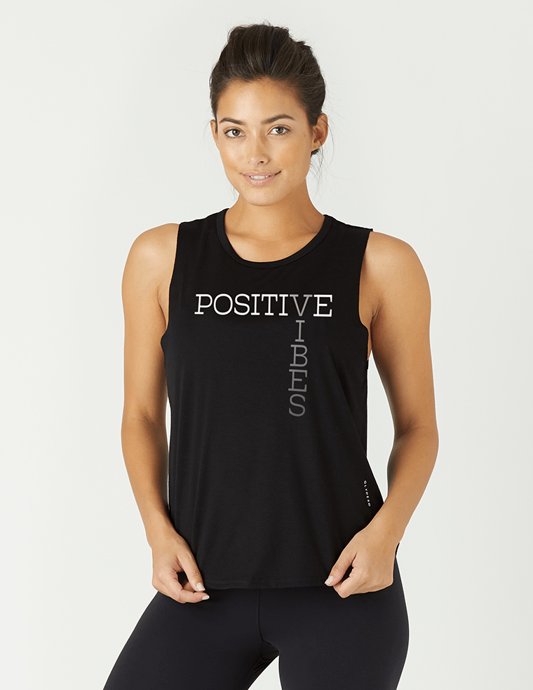 Positive Vibes Power Tank - Black - Glyder Tank Tops