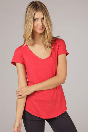Organic Short Sleeve Scoop-Neck Tee - Red - LVR Clearance