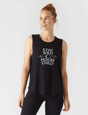 Stay Wild Power Tank - Black - Glyder Tank Tops