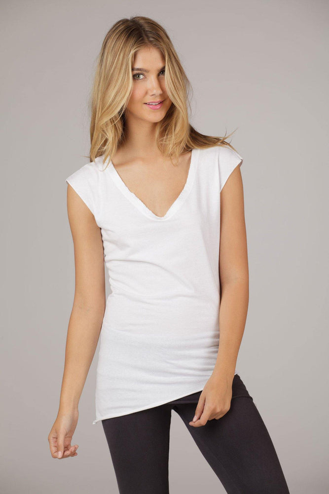 Organic Sleeveless V-Neck Angled Bottom Tee - White - MAX & ME SPORT