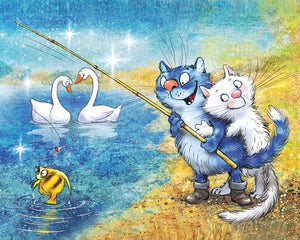 Cats - Fishing Time, 40x50 cm, Rund