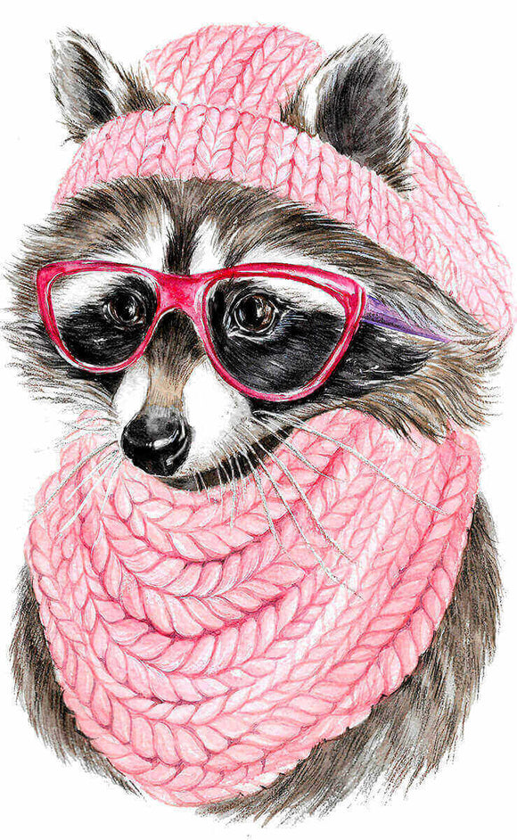 Raccoon With Glasses, 20x30 cm, Rund