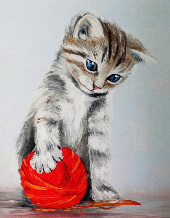 Kitten With A Red Clew, 40x50 cm, Rund