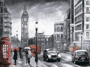 London In The Rain, 40x50 cm, Rund