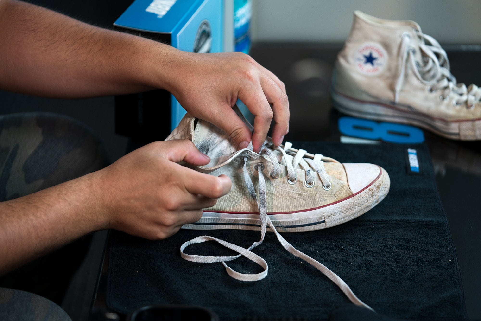 Remove your shoelaces and rinse your shoes with cold water to clean your shoes