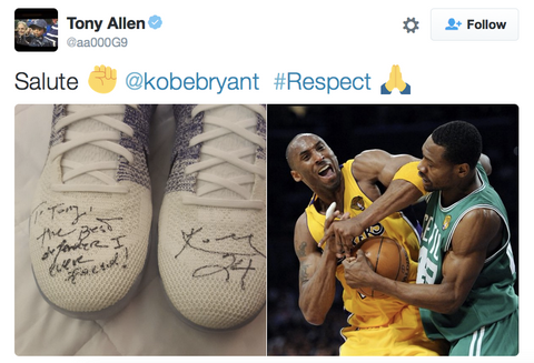 988f4ded183 ... Kobe made sure to get the shoes into Allen s possession. The message is  nothing but a sign of respect. The right bares the inscription