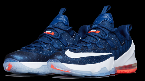 As expected red/white/blue colorways are found across the five silhouettes.  The LeBron 13 Low USA features a blue upper, detailed with white stars.