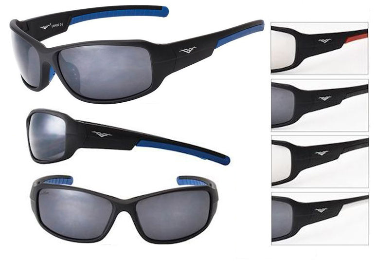 52014BLK - VertX Plastic Sport Wrap Sunglasses w/ Matte Rubber Finish