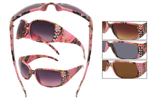 56012-PINK - VertX Women's Camouflage Sunglasses with Rhinestones
