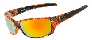 56304-ORG - VertX Orange Camo Sport Wrap Sunglasses w/ Matte Rubber Finish