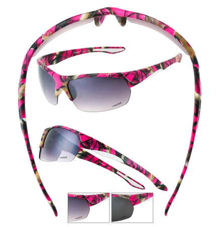 56313-PURPK - VertX Women's Purple-Pink Camo Sport Wrap Sunglasses