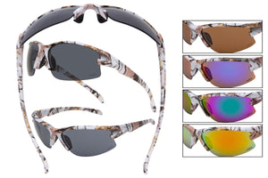 56316-WHT - VertX Camo Sport Wrap Sunglasses w/ Matte Rubber Finish