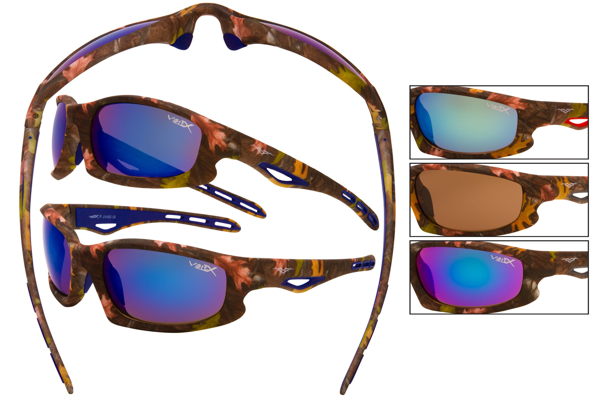 56614 - VertX Brown Camo Sport Wrap Sunglasses