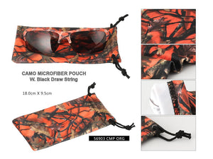 A56903 - Orange Camo Microfiber Pouch w/ Black Drawstring