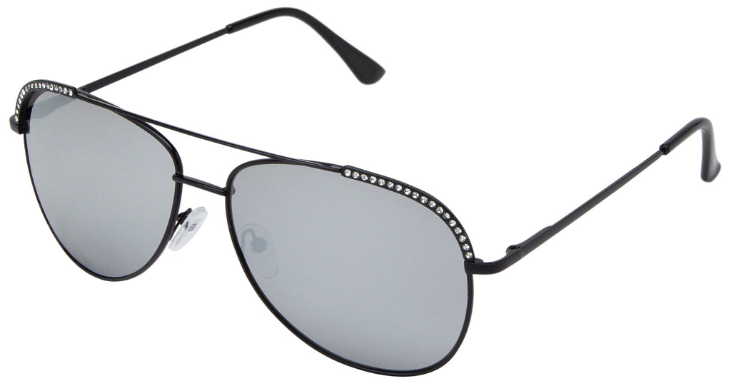 66127 - Metal Pilot Sunglasses with Rhinestones